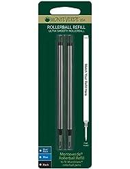 Monteverde - Recambio para bolígrafos roller Montblanc (punta fina, 2 unidades), color negro