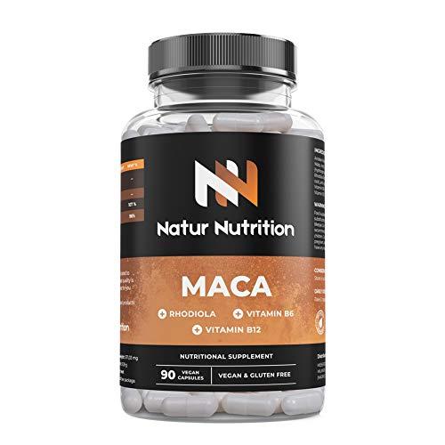 Maca pura 6000 mg + Rhodiola Rose + B6+ B12. Máxima concentración de maca andina para potenciar la musculación sin fatiga, aumento de testosterona natural. 90 cápsulas vegetales, Fabricado en UE.