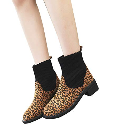 Geili Damen Stiefeletten Kurzschaft Chelsea Stiefel mit Blockabsatz Profilsohle Mode Leopard Muster Patchwork Lederstiefel Schlüpfen Socken Boots Warm Fleece Gefüttert Winterstiefel
