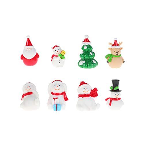 STOBOK 8 stücke Miniatur Weihnachten Weihnachtsbaum schneemann weihnachtsmann Rentier Figuren Ornamente fee Garten puppenhaus Dekoration Weihnachten DIY Handwerk