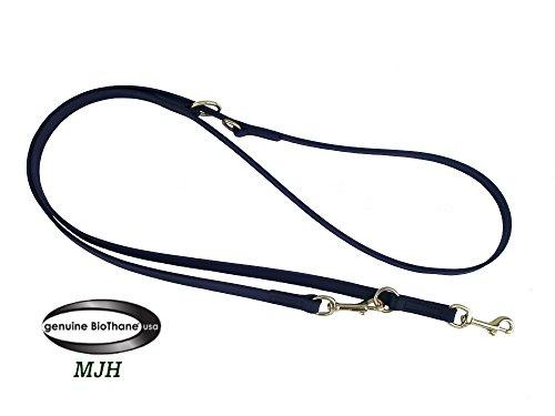 MJH-Führleine Beta BioThane-3fach verstellbar 9mm/2,30m schwarz Edelstahl Beschläge, vernäht, Hunde bis ca.12kg
