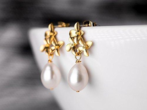e, Hochzeit, Braut-Schmuck, Geschenk für Sie, vergoldete Blüten-Ohrstecker mit Süßwasser-Tropfen-Perlen, Kirschblüten ()