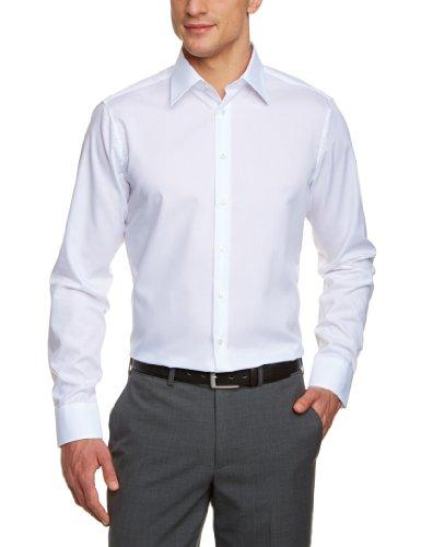 Seidensticker Herren Business Hemd Tailored Langarm Kent-Kragen Bügelfrei, Weiß (Weiß 1), Large (Herstellergröße: 42)