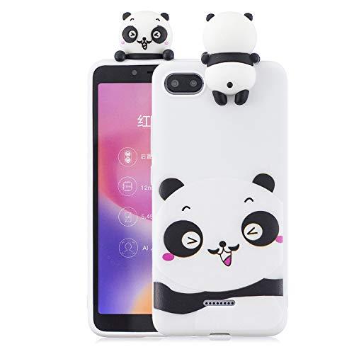 Funluna Funda Xiaomi Redmi 6A, 3D Panda Patrón Ultra Delgado TPU Cover Suave Silicona Carcasa Gel Anti-Rasguño Protectora Espalda Bumper Case para Xiaomi Redmi 6A, Blanco