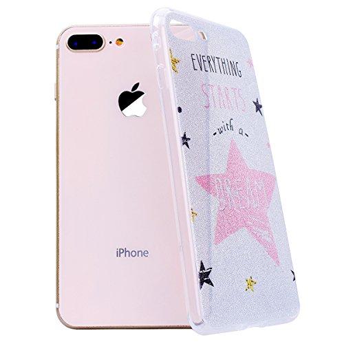 """WE LOVE CASE iPhone 8 Plus Hülle Glitzern Transparent Durchsichtig Farbe iPhone 8 Plus 5,5"""" Hülle Silikon Weich Diamond Handyhülle Tasche für Mädchen Elegant Backcover , Soft TPU Flexibel Case Handyco Stars"""