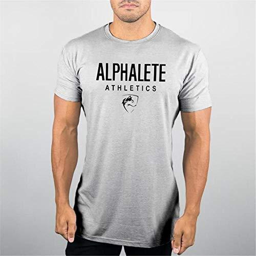 T-Shirt Homme Sport, Rennen Baselayer Short Sleeve Jersey T-Shirt-Kleid Fitness Fußball Jogging Grau XL