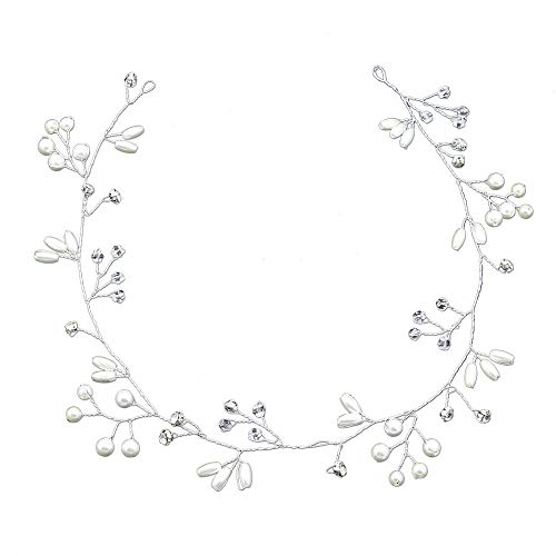 C&NN Bridal Vintage Crystal Pearl Vine Hairbands Headpiece Wedding Hair Accessoires,35cm
