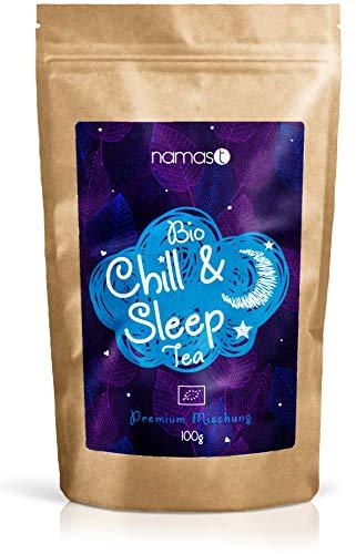 Chill & Sleep Tea BIO 100g | Abendtee - Entspannungstee | biologische Spitzenqualität | Loser Kräuter Tee mit Baldrian, Lavendel, Johanniskraut, Passionsblume, Hopfenblüten, etc.