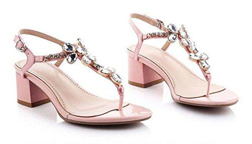 Beauqueen Pumps Sandalen Sommer Mädchen Frauen Einfache Strass Niedrige Fersen Vintage Casual Beach Schuhe Rot Und Rosa Europa Standard Größe 34-39 Pink