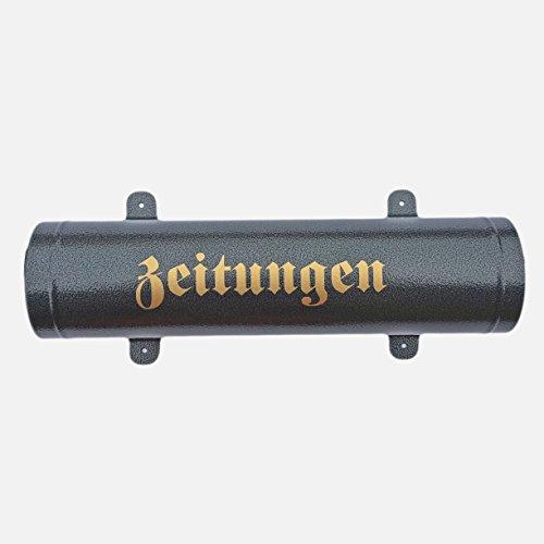 Zeitungsrolle in Anthrazit / Schwarz aus Metall mit Verschlussgitter Zeitungsfach Zeitungsbox Zeitungsrohr - 2