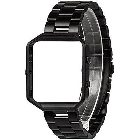 Band für Fitbit Blaze mit Metallrahmen, Wearlizer Smart Watch Band mit Metallrahmen, Edelstahl Ersatzband für Fitbit Blaze