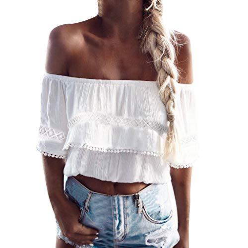 Helm Long Sleeve Tee (Kviklo Damen T-Shirt Kalte Schulter Schnürung Tiefer V-Ausschnitt Einfarbig Tops Loose Bluse(M(38),Weiß))