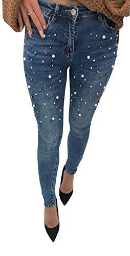 Loralie Damen Jeanshosen Stretch mit Perlen Skinny Jeans Röhrenjeans (29, Blau)