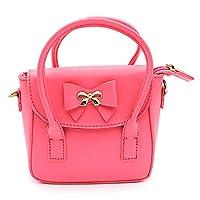 Scheppend Fashion Little Girls Handbag Children Single-shoulder Bag Dual-purpose Bag (Rosy bowknot)