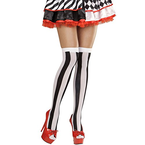 Overknee Streifen Strümpfe schwarz-weiß Damenstrümpfe Überknie Harlekin Halterlose Überkniestrümpfe Overknees Herzdame Alice Kostüm Accessoire Herzkönigin Nylonstrümpfe (Sexy Herzkönigin Kostüme)