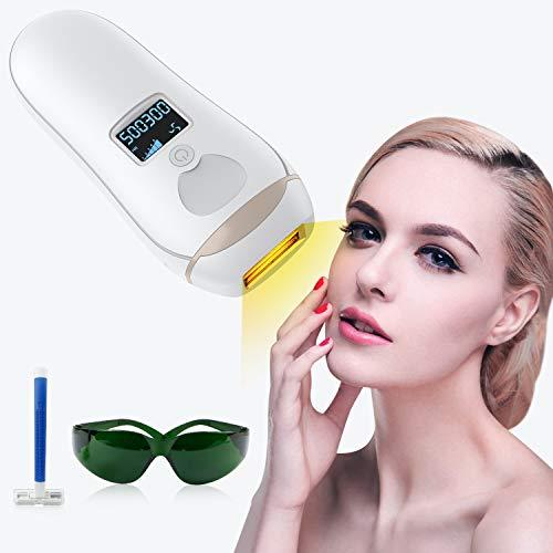 IPL Depiladora de Luz Pulsada, Láser de Depilación Permanente para Cuerpo y Cara 500300 Flashes Dispositivo Láser Profesional sin Dolor para el Hogar (White-laser Depiladora)