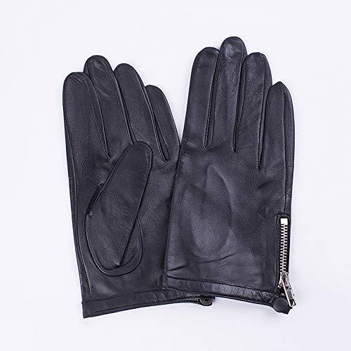 Agelec Dünne Lederhandschuhe Männlich Leder Paar Winter Fahren Handschuhe Reparatur Single Layer Reißverschluss Weiche Ziegenleder Handschuh Männ (Größe : XS) -