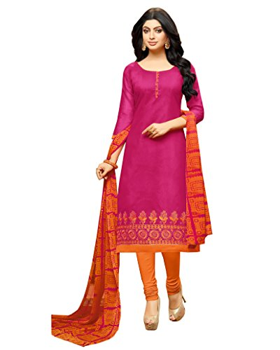 Rajnandini Women\'s Chanderi Cotton Embroidered Dress Material(JOPLGF18012_Pink_Free Size)