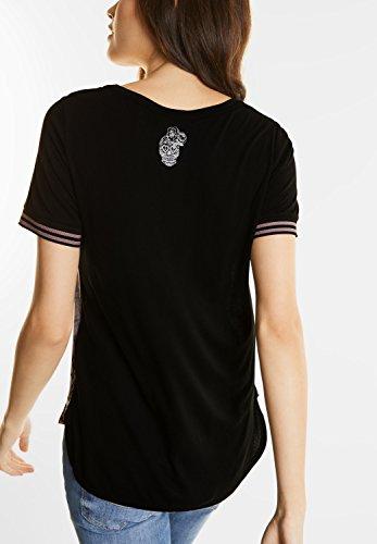 Street One Damen Plakatives Materialmix Shirt Black (Schwarz)