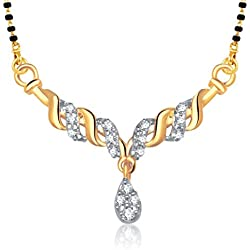 VK Jewels Fancy Gold and Rhodium Plated Alloy Mangalsutra for Women made with Cubic Zirconia - MP1149G [VKMP1149G]