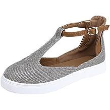 Covermason Zapatos Zapatos de mujer verano, planos con plataforma redonda y punta redonda para mujer