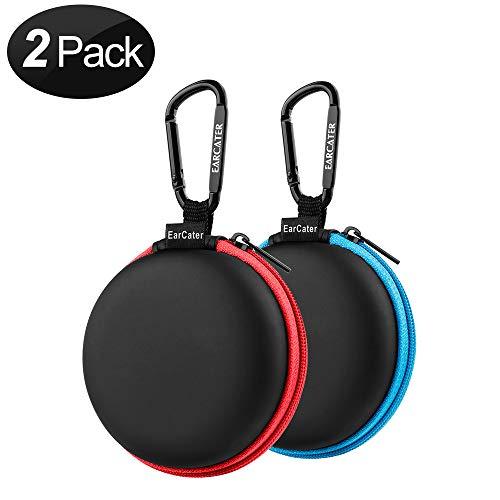 Koffer für Kopfhörer,SUNGUY [2-Pack] Reisetasche für Pocket-Ohrhörer Kleine Tasche für Smartphone Kopfhörer Etuis für Kopfhörer Bluetooth-Kopfhörer Etuis für Kopfhörer Eva 2 Farben (Blau,Orange)