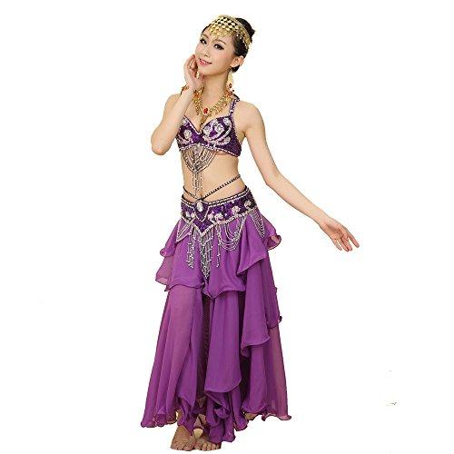 Neckholder Bauchtanz-outfit (Best Dance Damen Bauchtanz Kostüm Sets BH Gürtel Full Circle Rock Karneval Fancy Outfit)