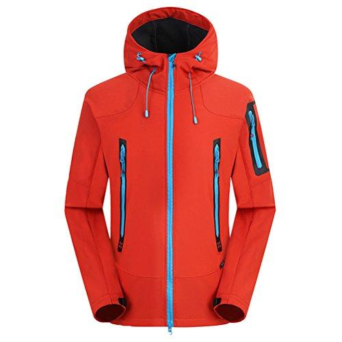 Zhuhaitf Men Beau Outdoor Travel Fleece Waterproof Soft Shell Climbing Jacket Orange