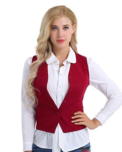 Tiaobug Damen Weste Anzugweste in rot, schwarz ärmellose taillenlange Jacke Basic Klassisch Modisch Business Westen Business Outfits Oberteil S-XXL Rot XXL Klassische Weste