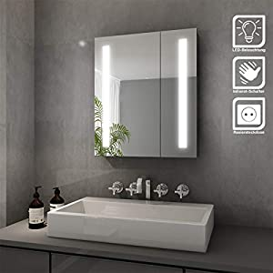 SONNI Spiegelschrank LED 2-türig Badezimmerspiegel mit Beleuchtung 60 x 70 cm Kaltweiß Infrarot Sensorschalter Badschrank mit Rasierersteckdose