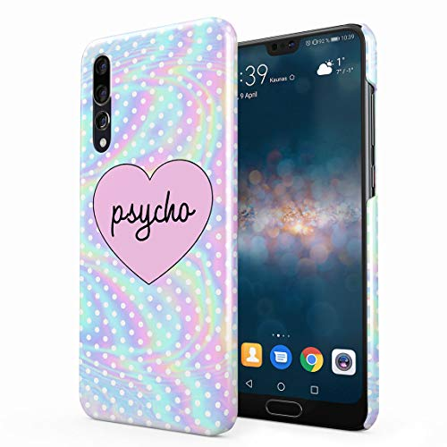 Psycho Heart Tye Dye Rainbow Polka Dots Pattern Dünne Rückschale aus Hartplastik für Huawei P20 Pro Handy Hülle Schutzhülle Slim Fit Case Cover Dots Cover Case Snap