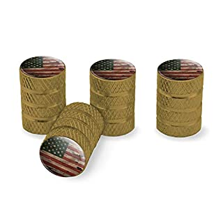 GRAPHICS & MORE Rustic American USA Flag Distressed Tire Rim Wheel Aluminum Valve Stem Caps - Gold