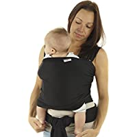 Baby Sling | Baby Wrap Carrier | Newborn to 35 lbs Infant with 3 Carrying Positions | 95% Cotton 5% Spandex - Black