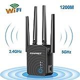 Répéteur Wi-FI 1200 Mbit/s WiFi Signal Forte (867 Mbit/s) 5.4 GHz + 300 Mbit/s 2,4 GHz, 2 Ports Ethernet, WPS, Compatible avec Tous Les appareils Wi-FI