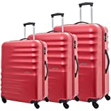American Tourister Preston Spinner Suitcases, Set of 3, Size 55 67 77, Red