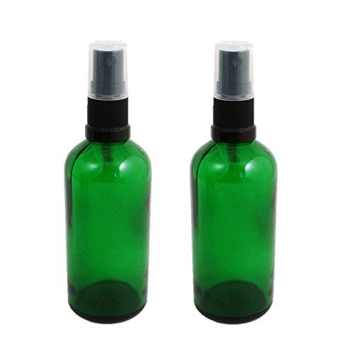 Grün Glas Flaschen 100ml mit Schwarz ZERSTÄUBERN-Pack von 2. Top Qualität Glas für Aromatherapie, Kunst, Handwerk, Erste Hilfe, Reisen Größe Spray, Insektenschutz Spray, Facial Schorle etc. -