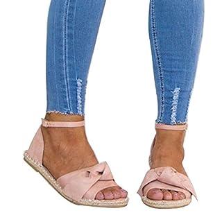 Juleya Offene Sandalen Damen Sommer Schuhe, Frauen Flache Sandaletten Plateau Peeptoe Bowknot Schnalle Seil Freizeit Strand Schuhe Riemchensandalen Rosa 40