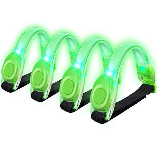 Alviller 4 Stuck LED Armband, Reflective LED Armbänder Leuchtband Reflektor Kinder Nacht Sicherheits Licht für Laufen, Joggen, Hundewandern, Bergsteigen, Running, Jogging und Outdoor Sports (Grün)