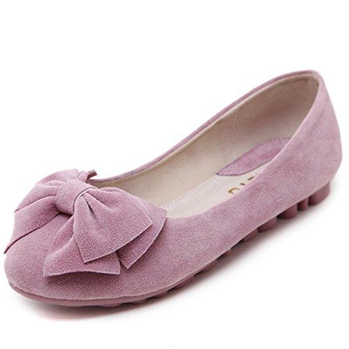 Fortunings JDS chaussures à semelle souple / à tête ronde douce bowknot Casual Flat Bean Femmes Rose