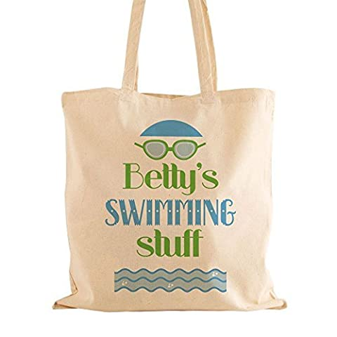 Personalised Swimming Natural Cotton Bag, Swimmer Gift Ideas, Childrens Swimming Kit Bag, Name Bag by Personalised Gift Ideas