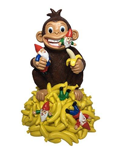 GlitZGlam Gartenzwerg mit Bananen und Einem Affen - 27,9cm Grosse Zwergenfigur für Ihren Feengarten (Lustige Affen-figuren)