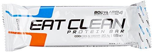 Bodylab24 Eat Clean Protein Riegel, Geschmack: Cookies & Cream, hochwertiger Fitness Proteinriegel, Low Carb, mit wertvollen Ballaststoffen, 12 x 65g Box