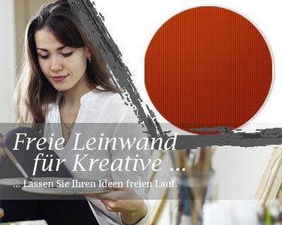 Bilderdepot24 Toile en Rouge, paintable qualité Premium, monté sur Le châssis - Le Format Rond - Environ 60 cm - 310g/m² - complètement encadrée, 7 Couleurs Disponibles