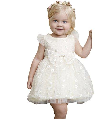Yiiquanan Baby Mädchen Frühling Sommer Mädchen Sleeveless Mesh Kleider Tiered Princess Rock Kleidung Outfits mit Bowknot (Beige, Asia 130) -