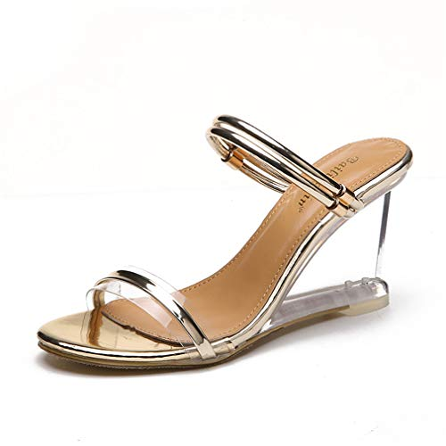 YAN Women es High Heel Sandals Artificial Leather Summer Classic Transparent Novelty Shoes Peep Toe Gold/Silver/Party & Evening,B,36 Sexy Classic Pumps