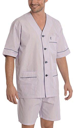 Pigiama due pezzi corto a righe da uomo, abbigliamento da notte classico per signori - popeline, 60% cotone 40% poliestere - taglia m - rosa e blu