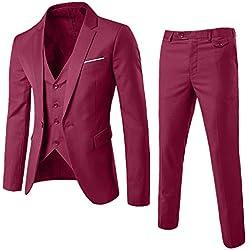 MORCHAN Costumes Slim Costume 3 pièces Blazer de soirée de Mariage Affaires Veste Veste et Pantalon(Medium,Vin Rouge)