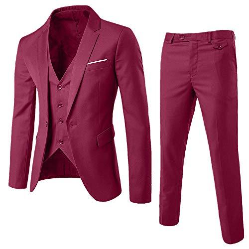 conqueror Costume 3 pièces Costume Blazer Business Costume Trois-pièces Veste +Gilet +Pantalon Slim Fit Formel Classique Bussiness Mariage Jacket Neige décontractés Chemises