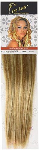 1st Lady soyeuse droite trame européenne naturel extension de cheveux humains avec de mélange tissage 80 g, Nombre P12/613, brun caramel/blond claire, 30,5 cm