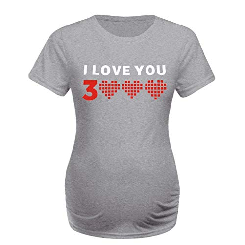 Lazzboy I Love You 3000 Mutterschaft Kurzarm Casual Brief Drucken Top T-Shirt Schwangere Kleidung Sweatshirt Damen Rundhals Pullover Paar Kostüm Basic Shirt Kurzarm-Shirt Bluse Oberteile(Grau,XL)